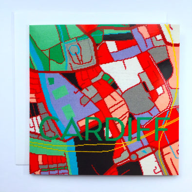 Cardiff City Map Greeting Card - Hannah Bass