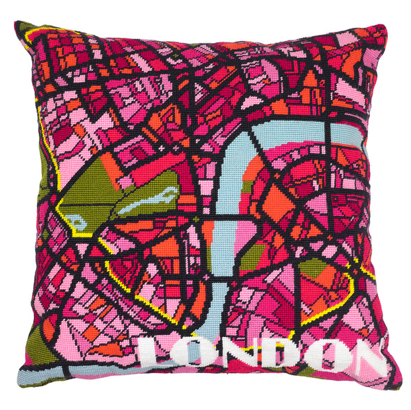 London Bright City Map Needlepoint Kit - Hannah Bass