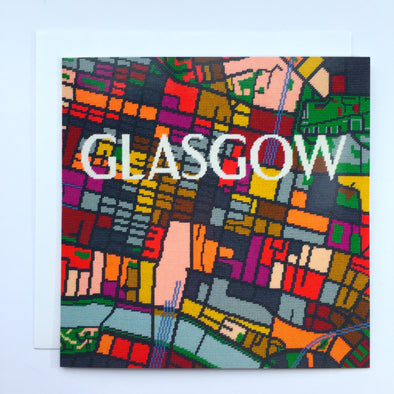 Glasgow City Map Greeting Card - Hannah Bass