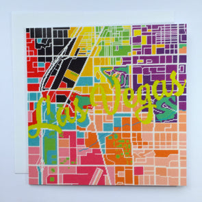 Las Vegas City Map Greeting Card - Hannah Bass