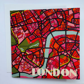 London Bright City Map Greeting Card - Hannah Bass