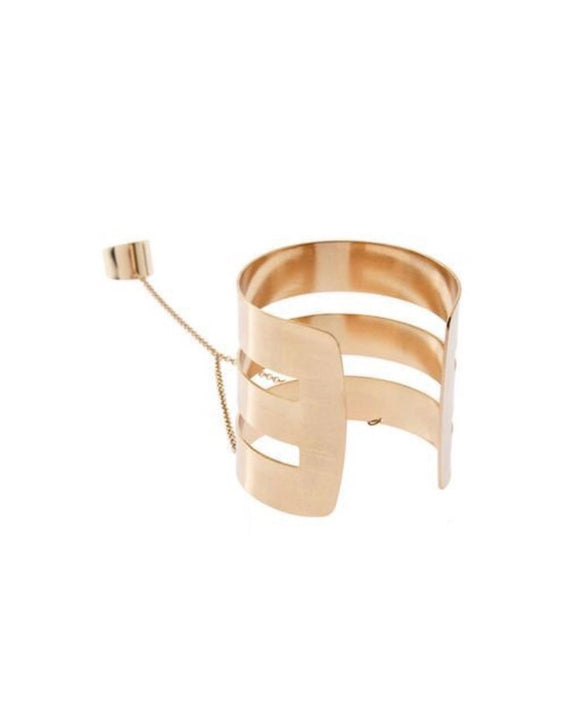 Athena Gold Bangle Chain Link Ring