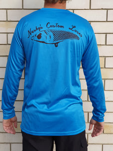 Nashys Custom Lures Our Performance Fishing Jerseys are super lightweight and ultra comfortable.   -100% Polyester -Antibacterial -UV rated -SPF50 -Quick drying