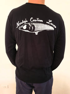 Nashys Custom Lures Black Long Sleeve Tee 100% cotton