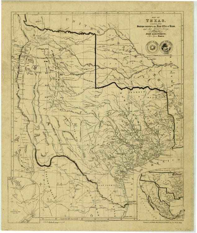 Map Of Texas In 1836.1841 Map Of Texas Compiled From Surveys By John Arrowsmith