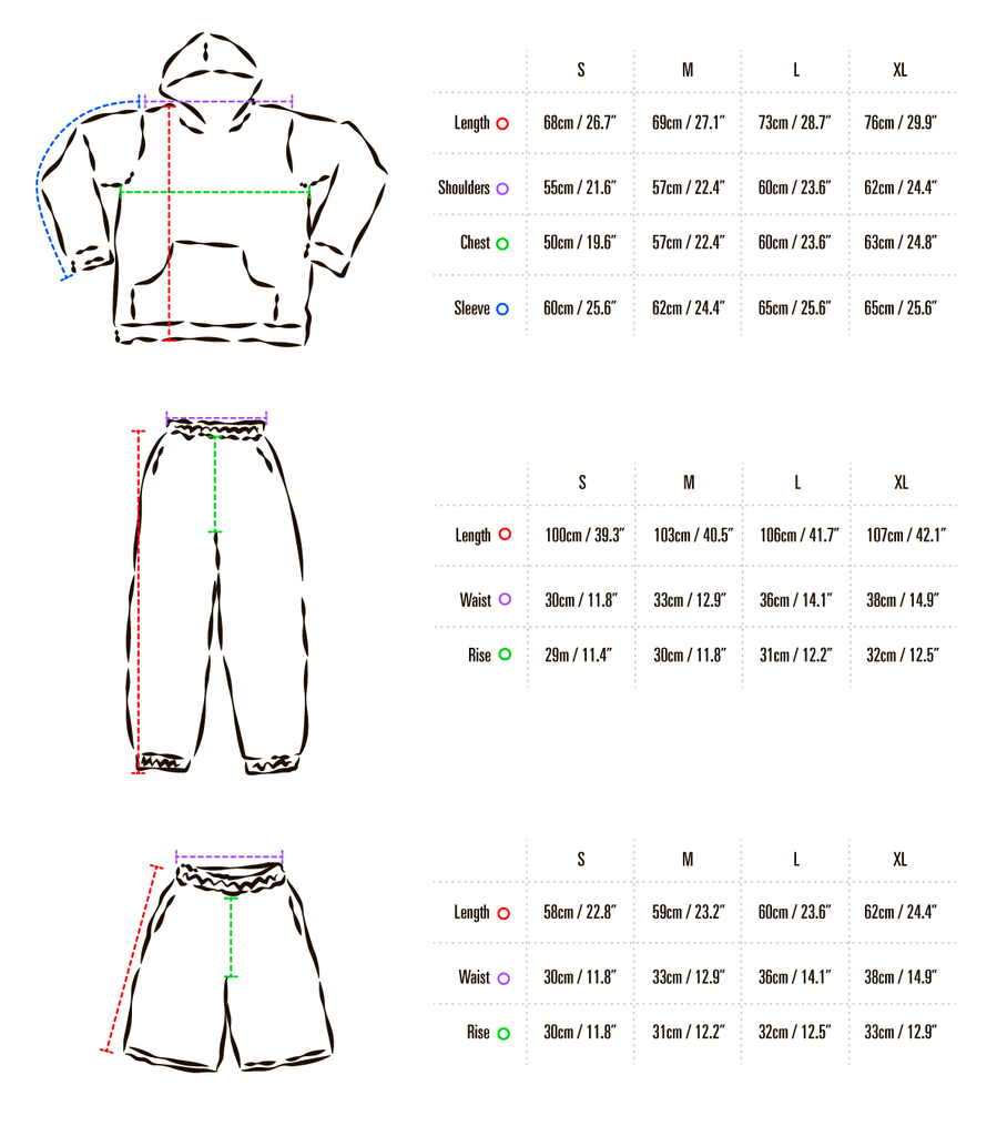 cozy  hoodie, pants and shorts size chart
