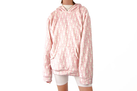Cozy Hoodie with baby pink CD Monograms print