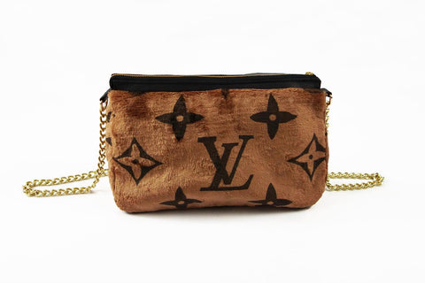 Louis Vuitton monogram brown faux fur shoulder bag