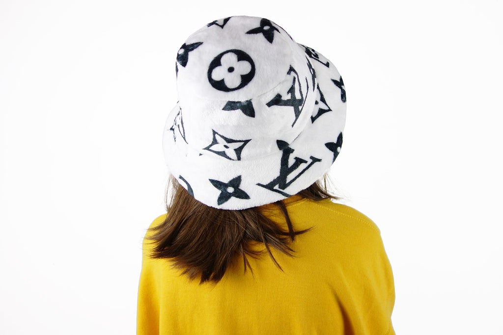 b822549e559 ... Bucket Hat with black Louis Vuitton Inspired Monogram print made from  Faux Fur fabric ...