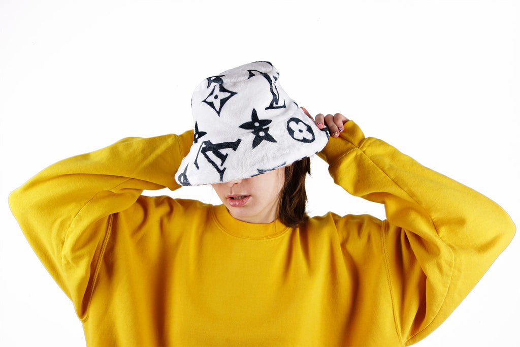 729d3137724 Bucket Hat with black Louis Vuitton Inspired Monogram print made from Faux  Fur fabric ...