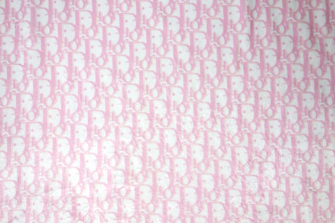 Cozy faux fur Wellsoft fabric with CD Inspired baby pink Monogram print