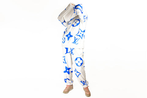 Cozy white faux fur Suit with LV Inspired blue Monograms, Hoodie and Pants
