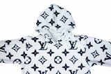 Louis Vuitton monogram White faux fur hoodie