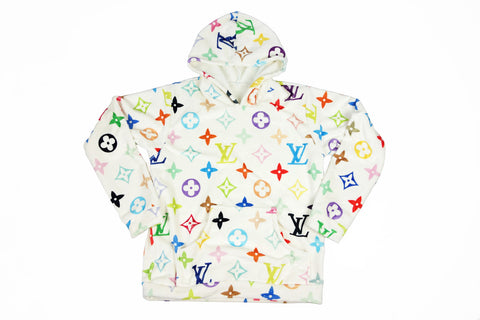 Cozy white louis vuitton multi-color monogram hoodie