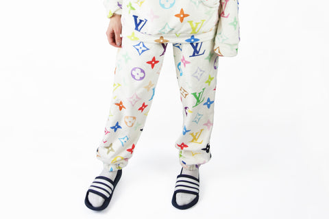 Cozy white louis vuitton multi-color monogram pants