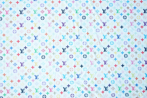 White LV Monogram Inspired Mesh Stretch Fabric Print