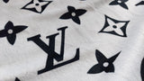 Velboa fabric with LV Inspired Black Monogram print