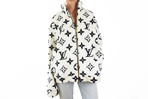 Cozy zipper jacket with Louis Vuitton inspired LV Monograms