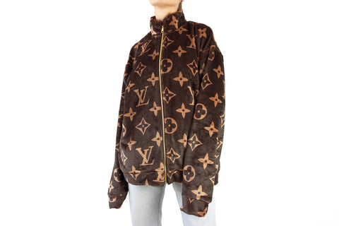 Cozy Dark Brown zipper jacket with LV inspired Monograms