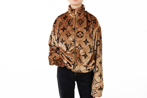Cozy Brown zipper jacket with LV inspired Monograms