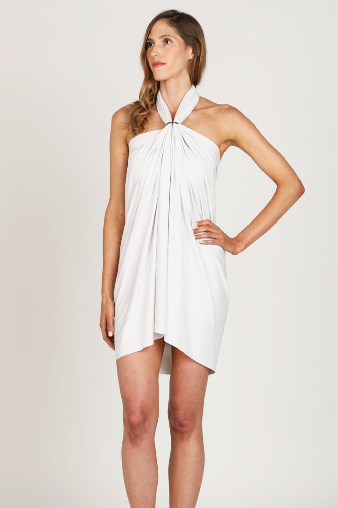 light gray white strand wrap worn with ring as short halter dress or coverup