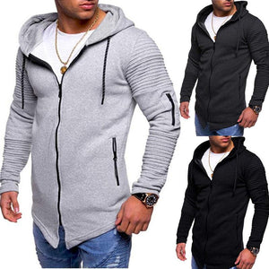 Men's Casual Sports Arm Zipper Striped Raglan Sleeves Hoodie Sweater