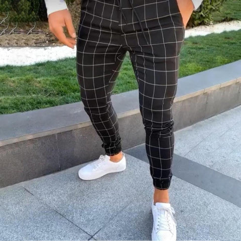 2019 Men's Black Square Plaid Casual Pants