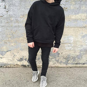 Fashion Mens Casual Youth Loose Plain  Hoodie