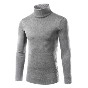 Mens Solid Plain Choker Slim  Warm  Sweater