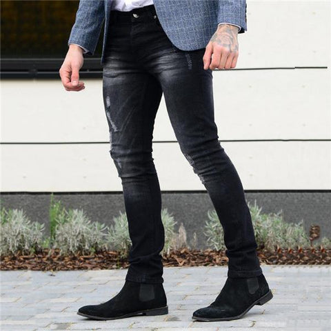 Casual Fashion Solid Color Close-Fitting Men jeans