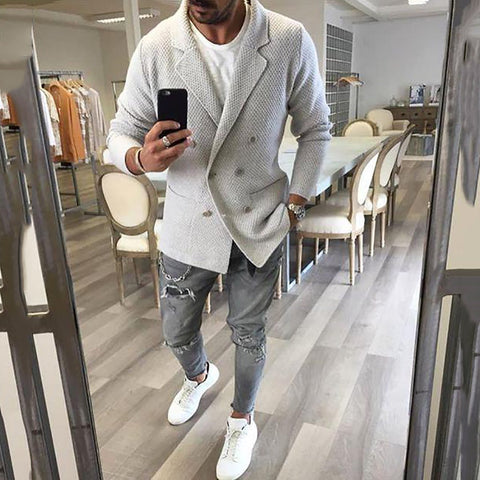 Fashion Mens Slim Solid Color Lapel Long Sleeve Outerwear