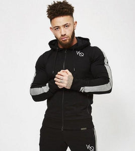 Autumn New Men Fitness Hoodie Fashion Pullover Zipper Jacket Sweatshirt