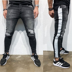 Fashion Printing Pure Color Ripped Jeans