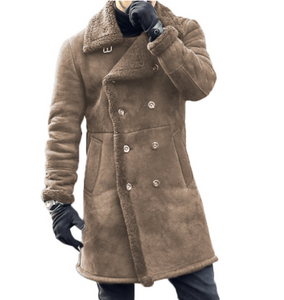 Fashion Casual Wide Lapel Woolen Double-Breasted Plain Long Coat