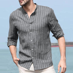 Men's Casual Commuting Thin Section Stripe Blouse