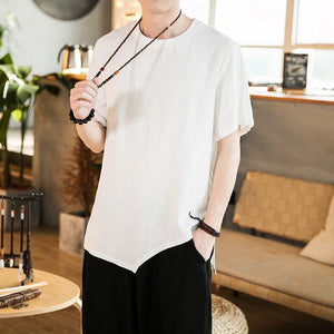 Men's Casual Pure Colour Round Neck Pullover T-Shirt
