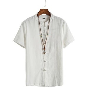 Men's Casual Pure Colour Buckle Short Sleeve Blouse