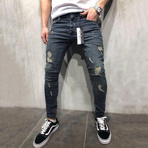 Fashion Broken Hole Washed Tight Fit Jeans
