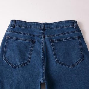 Fashion Locomotive Broken Hole Elastic Pencil Pants