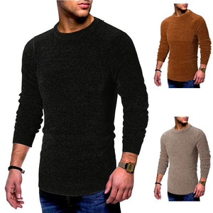 Fashion Round Neck Solid Color Long Sleeve Knit Sweaters