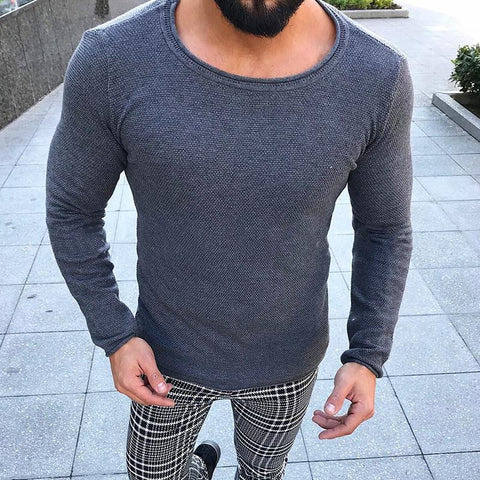Fashion Round Neck Long Sleeve Solid Color Sweaters