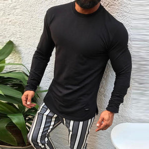 Fashion Round Neck Solid Color Long-Sleeved T-Shirts