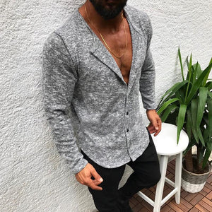 Casual Pure Colour Single-Breasted Shirt