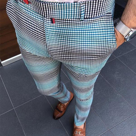 Fashion Casual Men's Plaid Printing Color Block Pencil Pants