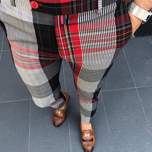 Men's High-Waisted Plaid Casual Pencil Pants