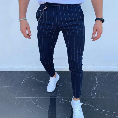 Men's High Waist Striped Printed Casual Pencil Pants