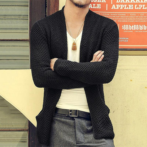 Fashion Casual Men's Solid Color Long Knit Cardigan Sweaters