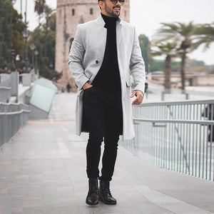 Casual Men's Pure Color Long-Sleeved Single Breasted Windbreaker