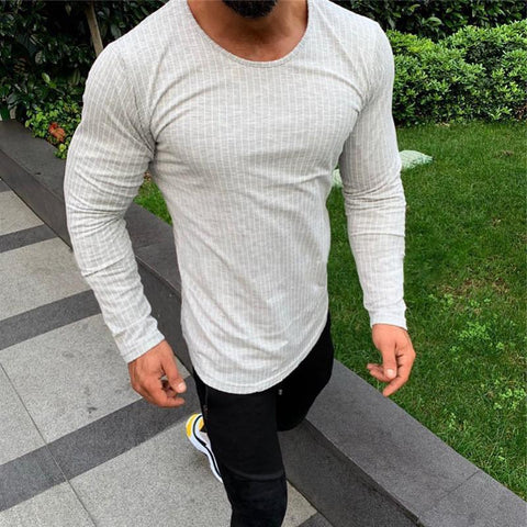 Casual Round Neck Solid Color Tight T-Shirt