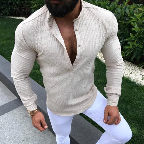 Casual Solid Color Tight Shirt